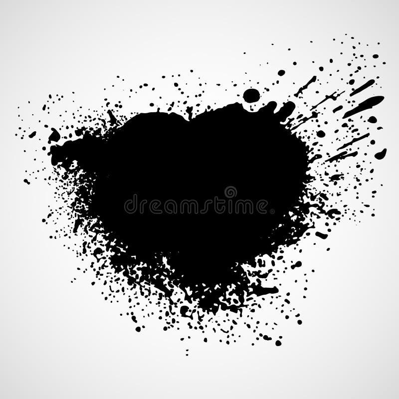 Το χρώμα λεκιάζει το μαύρο υπόβαθρο κηλίδων διάνυσμα απεικόνιση αποθεμάτων