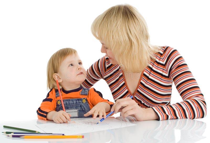 το χρώμα μωρών σύρει το penci μητέρ στοκ φωτογραφίες με δικαίωμα ελεύθερης χρήσης