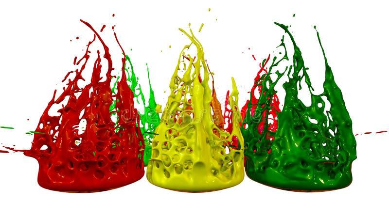 Το χρώμα πέταξε από το βάζο στο άσπρο υπόβαθρο Προσομοίωση των τρισδιάστατων παφλασμών του μελανιού σε έναν μουσικό ομιλητή που π απεικόνιση αποθεμάτων