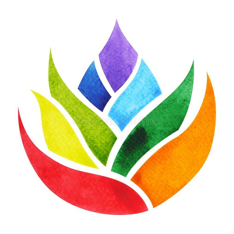 το χρώμα 7 της έννοιας συμβόλων chakra, ανθίζει τη floral, ζωγραφική watercolor διανυσματική απεικόνιση