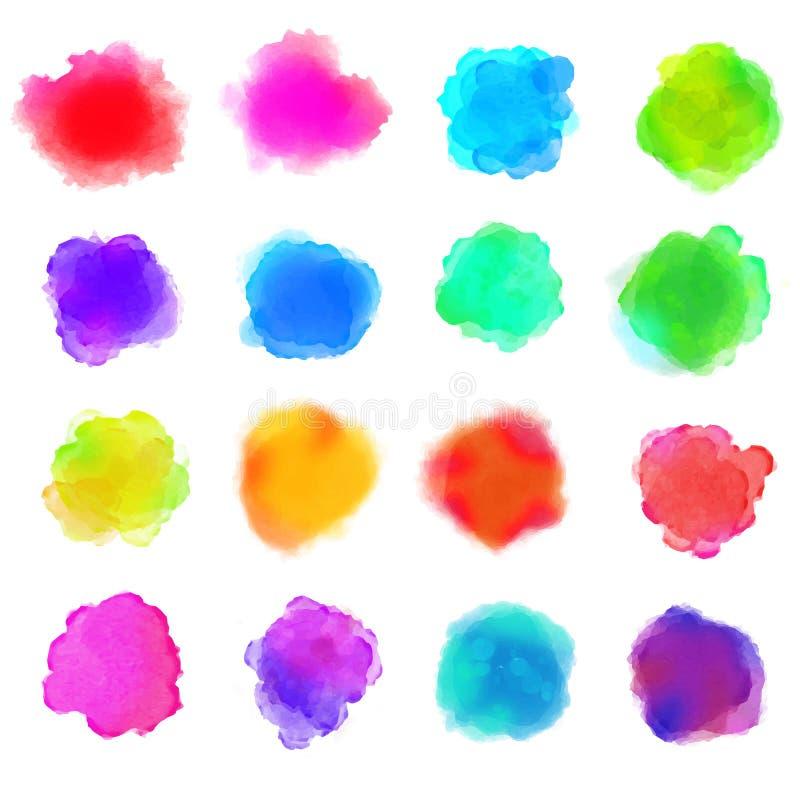 Το χρώμα Watercolor λεκιάζει τα διανυσματικά υπόβαθρα καθορισμένα τα χρώματα ουράνιων τόξων απεικόνιση αποθεμάτων