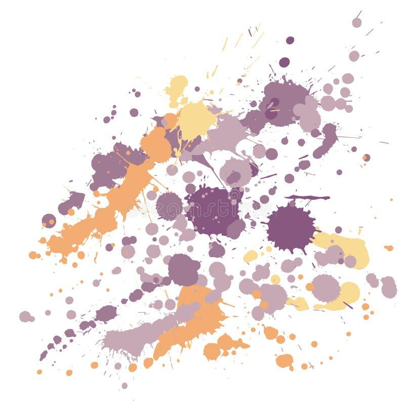 Το χρώμα Watercolor λεκιάζει grunge το διάνυσμα υποβάθρου Φουτουριστικό μελάνι splatter, λεκέδες ψεκασμού, στοιχεία σημείων λάσπη ελεύθερη απεικόνιση δικαιώματος