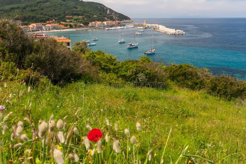 Το χωριό της μαρίνας Marciana νησί της Έλβας στοκ εικόνα με δικαίωμα ελεύθερης χρήσης