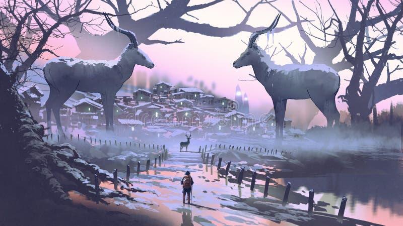 Το χωριό του θρυλικού impala διανυσματική απεικόνιση