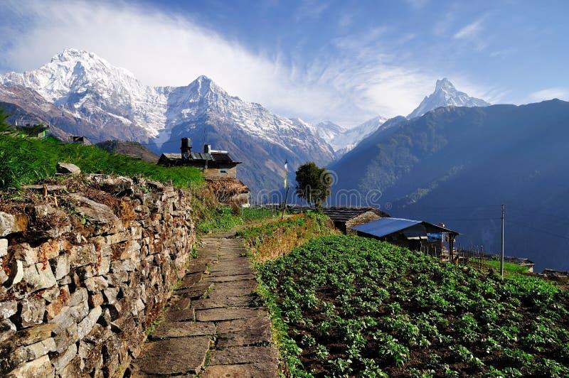 Χωριό Ghandruk με το νότο Annapurna στο υπόβαθρο στην περιοχή Annapurna στοκ φωτογραφία με δικαίωμα ελεύθερης χρήσης
