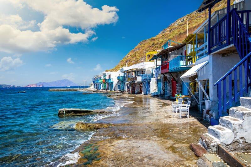 Το ψαροχώρι Klima με τα σπίτια βαρκών syrmata, νησί της Μήλου, Κυκλάδες, Ελλάδα στοκ εικόνες με δικαίωμα ελεύθερης χρήσης