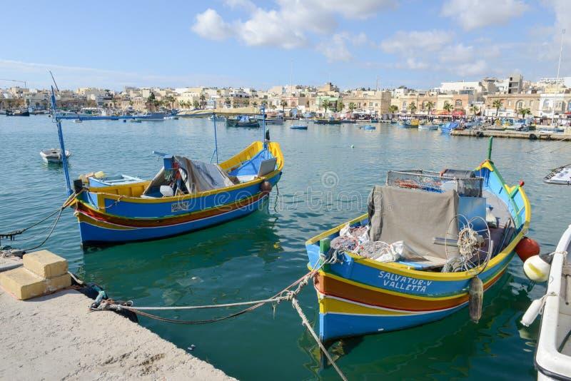 Το ψαροχώρι Marsaxlokk στο νησί της Μάλτας στοκ φωτογραφία με δικαίωμα ελεύθερης χρήσης