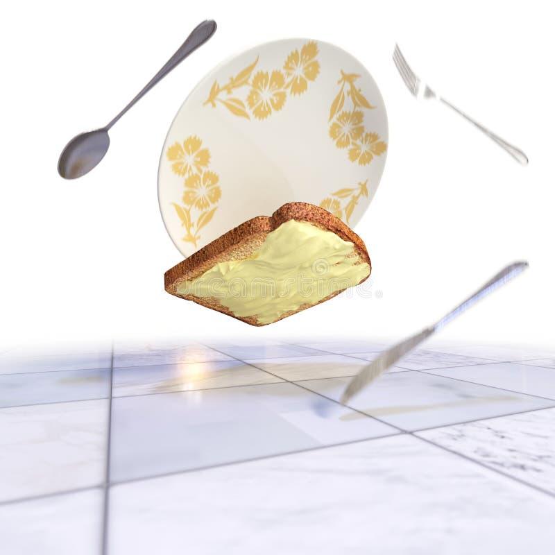 Το ψωμί και το βούτυρο που αφορούν το πάτωμα απομονώνουν το υπόβαθρο στοκ εικόνα