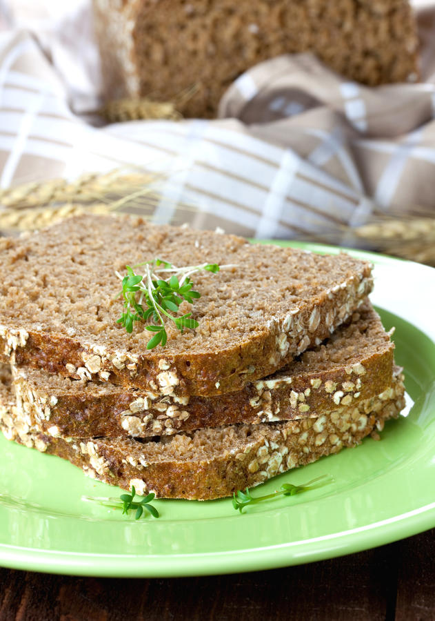 το ψωμί τεμαχίζει τρία στοκ εικόνα