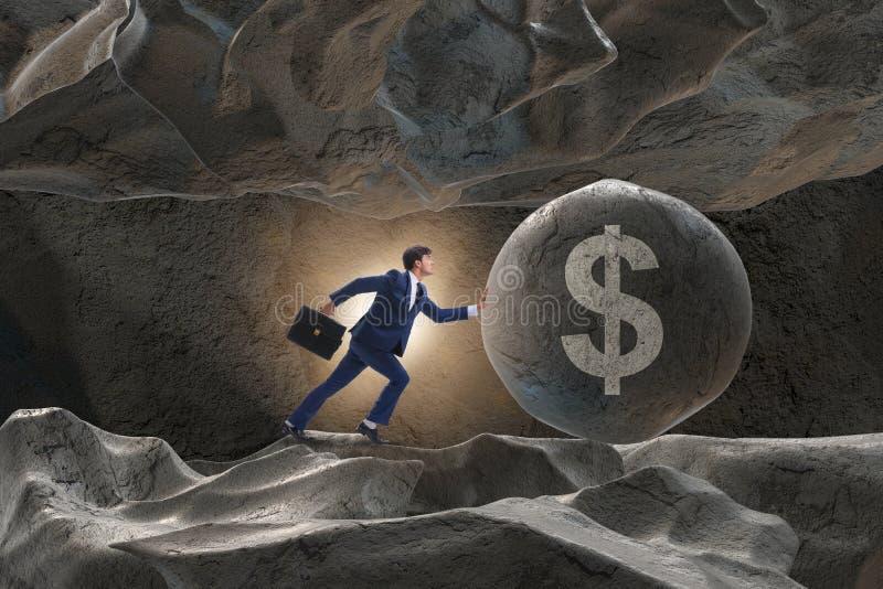 Το ωθώντας σημάδι δολαρίων επιχειρηματιών στην επιχειρησιακή έννοια στοκ φωτογραφία