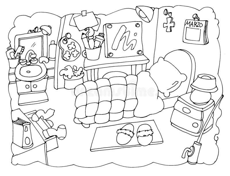 Το δωμάτιό μου, κρεβατοκάμαρα μιας ράχης καλλιτεχνών που χρωματίζει για τα παιδιά απεικόνιση αποθεμάτων