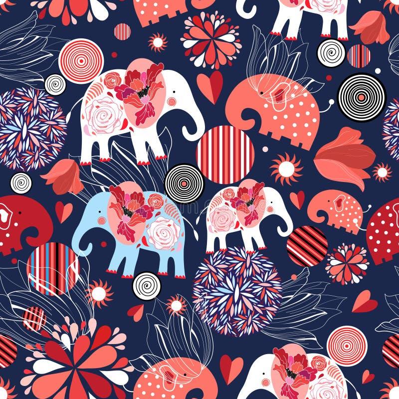 Το όμορφο άνευ ραφής σχέδιο οι ελέφαντες απεικόνιση αποθεμάτων