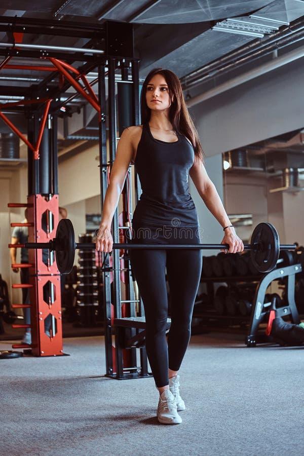 Το όμορφο θηλυκό brunette sportswear κρατά ένα barbell εκπαιδευτικό σε μια λέσχη ή μια γυμναστική ικανότητας στοκ εικόνα με δικαίωμα ελεύθερης χρήσης