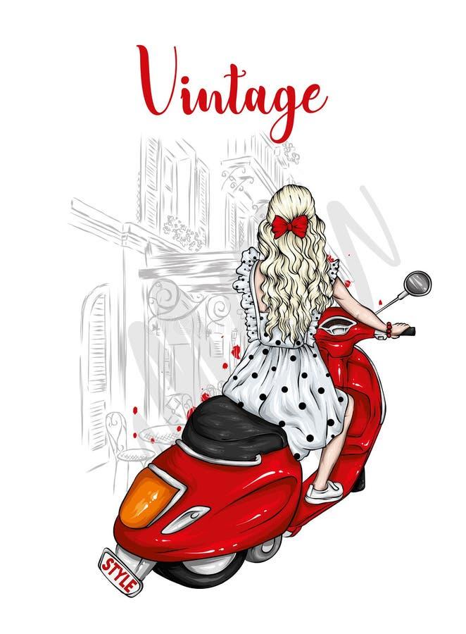 Το όμορφο κορίτσι με μακρυμάλλη σε ένα θερινό φόρεμα κάθεται σε ένα εκλεκτής ποιότητας μοτοποδήλατο Μόδα και ύφος, ενδύματα και ε ελεύθερη απεικόνιση δικαιώματος