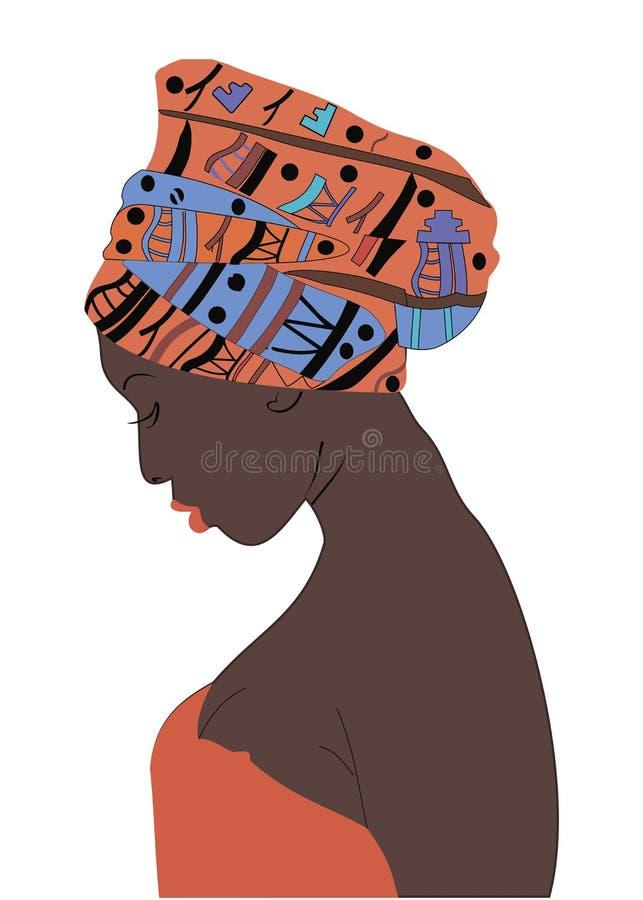 Το όμορφο κορίτσι με το σκοτεινό δέρμα με ένα τουρμπάνι σε επικεφαλής του vect ελεύθερη απεικόνιση δικαιώματος