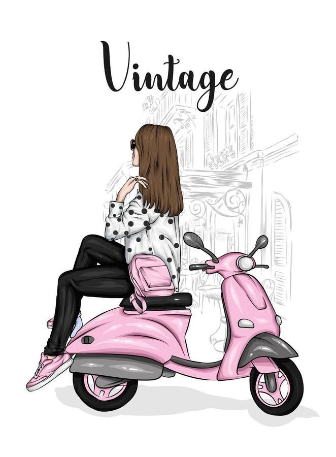 Το όμορφο κορίτσι μοντέρνοι περίβολοι κάθεται σε ένα εκλεκτής ποιότητας μοτοποδήλατο Διανυσματική απεικόνιση για την κάρτα ή αφίσ ελεύθερη απεικόνιση δικαιώματος