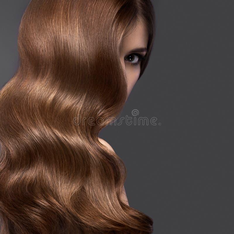 Το όμορφο κορίτσι brunette με κατσαρώνει τέλεια την τρίχα και την κλασική σύνθεση Πρόσωπο ομορφιάς στοκ φωτογραφία με δικαίωμα ελεύθερης χρήσης