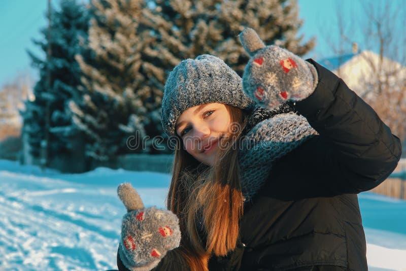 Το όμορφο λευκό κορίτσι υπαίθρια μια χειμερινή ημέρα παρουσιάζει όπως Η έννοια των διακοπών στην επαρχία το χειμώνα ή στα Χριστού στοκ φωτογραφία με δικαίωμα ελεύθερης χρήσης