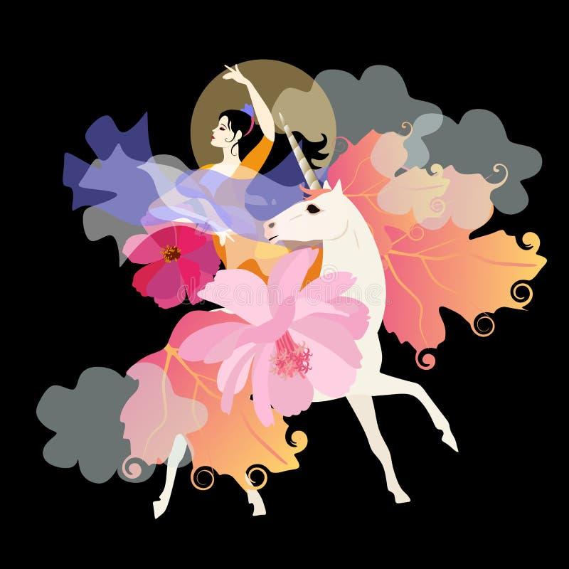 Το όμορφο μαύρος-μαλλιαρό κορίτσι νεράιδων με το πουλί στα χέρια της κάθεται καβάλλα στο μονόκερο με το Μάιν και την ουρά υπό μορ ελεύθερη απεικόνιση δικαιώματος