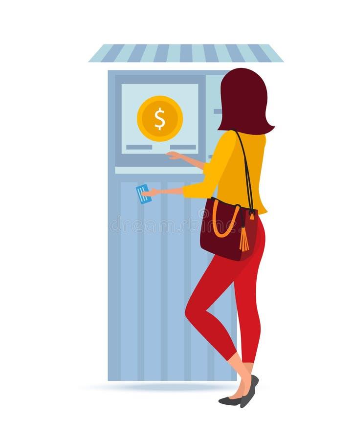 Το όμορφο μοντέρνο κορίτσι στέκεται κοντά στο τερματικό χρημάτων, για την εξαργύρωση των κεφαλαίων ελεύθερη απεικόνιση δικαιώματος
