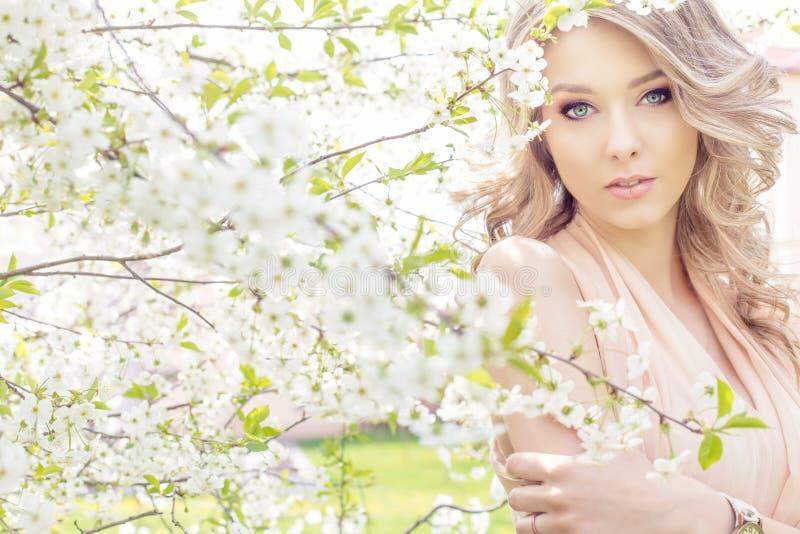Το όμορφο προκλητικό κομψό γλυκό μπλε-eyed ξανθό κορίτσι στον κήπο κοντά στο κεράσι ανθίζει μια ηλιόλουστη φωτεινή ημέρα στοκ εικόνες με δικαίωμα ελεύθερης χρήσης