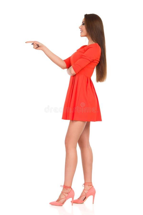 Το όμορφο πρότυπο μόδας στο μίνι φόρεμα δείχνει την πλάγια όψη στοκ εικόνα