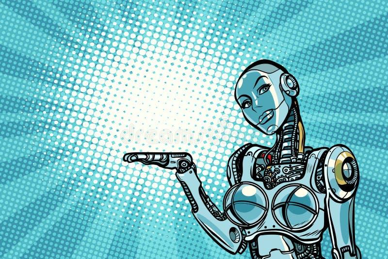 Το όμορφο ρομπότ γυναικών παρουσιάζει ελεύθερη απεικόνιση δικαιώματος