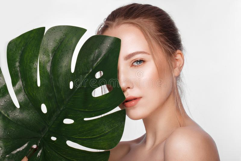 Το όμορφο φρέσκο κορίτσι με το τέλειο δέρμα, φυσικό κάνει τα επάνω και πράσινα φύλλα r στοκ φωτογραφίες με δικαίωμα ελεύθερης χρήσης