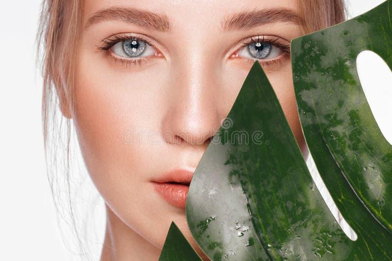Το όμορφο φρέσκο κορίτσι με το τέλειο δέρμα, φυσικό κάνει τα επάνω και πράσινα φύλλα r στοκ φωτογραφίες