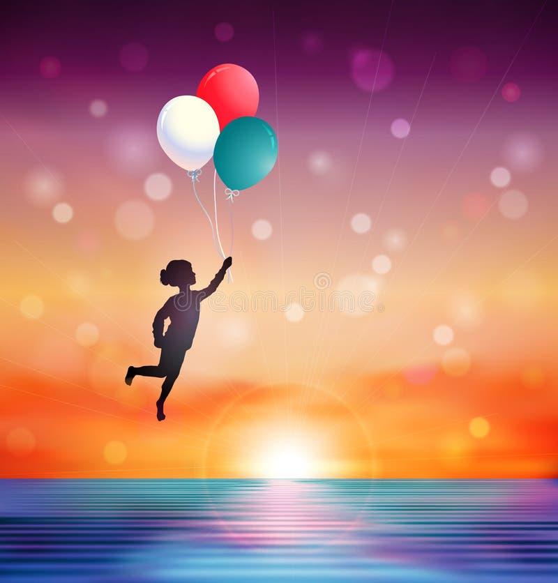 Το όνειρο ακολουθεί το κίνητρο ή την απεικόνιση ηλιοβασιλέματος έννοιας ελπίδας διανυσματική απεικόνιση