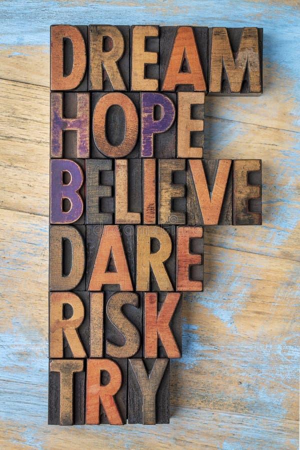 Το όνειρο, ελπίδα, θεωρεί, τολμά, διακινδυνεύει και δοκιμάζει την περίληψη λέξης στοκ εικόνες με δικαίωμα ελεύθερης χρήσης