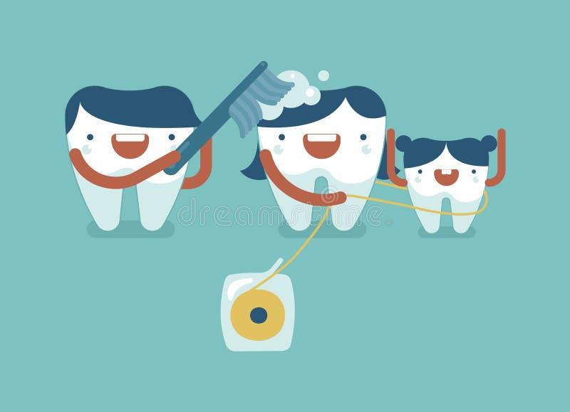 Το δόντι μπαμπάδων φυτεύει τη μαμά με θάμνους και καθαρίζει από το οδοντικό νήμα ελεύθερη απεικόνιση δικαιώματος