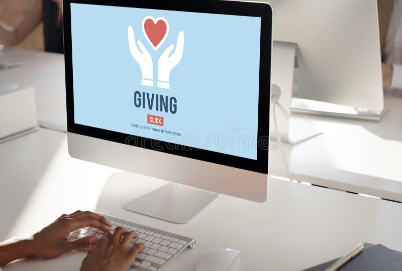 Το δόσιμο δίνει την έννοια φιλανθρωπίας υποστήριξης ενίσχυσης βοήθειας παρακαλώ στοκ εικόνες