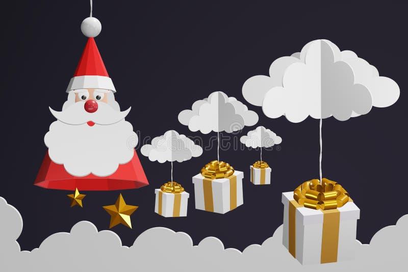 Το ύφος τέχνης εγγράφου του καπέλου Άγιου Βασίλη και το χρυσό τόξο δώρων κρεμούν με το σύννεφο στο μαύρο ουρανό διανυσματική απεικόνιση