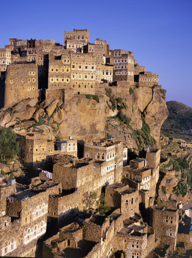 Άποψη σχετικά με Hajjarrah, Υεμένη, στο ηλιοβασίλεμα στοκ εικόνα με δικαίωμα ελεύθερης χρήσης