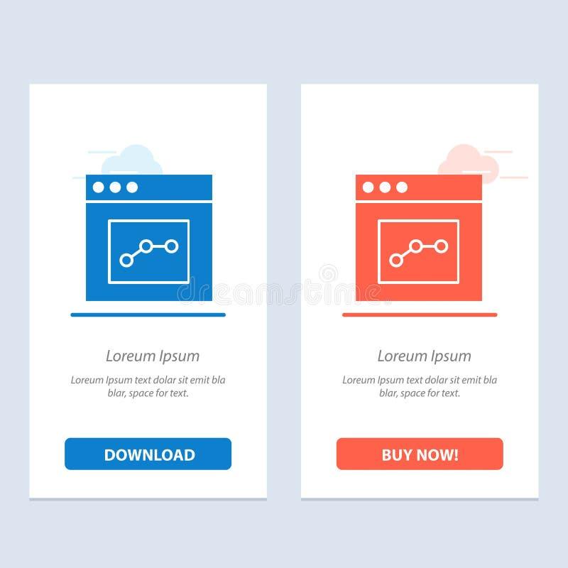 Το Analytics, η επικοινωνία, η διεπαφή, ο χρήστης μπλε και το κόκκινο μεταφορτώνουν και αγοράζουν τώρα το πρότυπο καρτών Widget Ι απεικόνιση αποθεμάτων