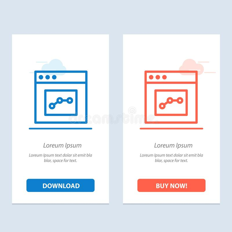 Το Analytics, η επικοινωνία, η διεπαφή, ο χρήστης μπλε και το κόκκινο μεταφορτώνουν και αγοράζουν τώρα το πρότυπο καρτών Widget Ι ελεύθερη απεικόνιση δικαιώματος