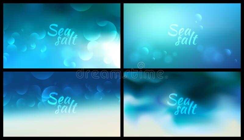 Το Aqua θόλωσε το υπόβαθρο έθεσε σε 4 την ευρεία θολωμένη φύση μπλε υπόβαθρα με το άλας θάλασσας σημαδιών διανυσματική απεικόνιση