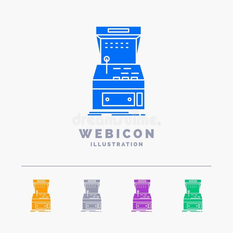 Το Arcade, κονσόλα, παιχνίδι, μηχανή, το πρότυπο εικονιδίων Ιστού Glyph 5 χρώματος που απομονώνεται παίζει στο λευκό r διανυσματική απεικόνιση