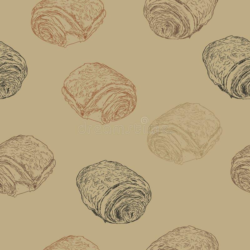 Το Au πόνου σοκολάτας croissants chocolat, χέρι σύρει το σκίτσο seamle διανυσματική απεικόνιση