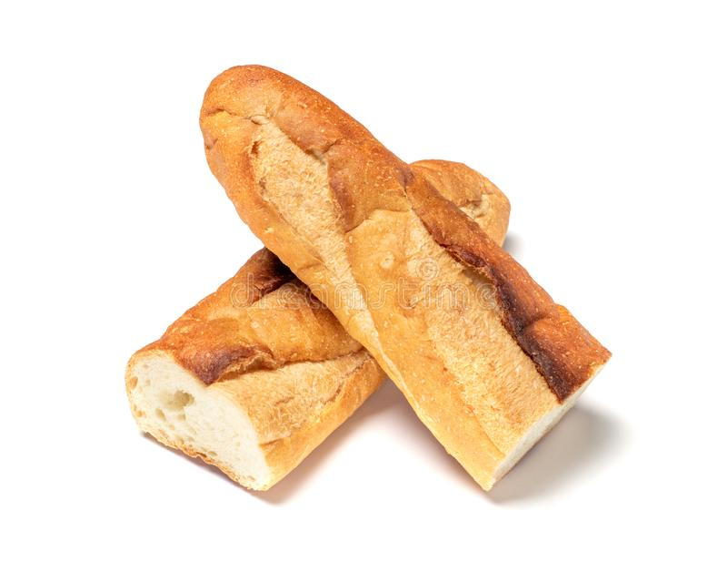Το Baguette έκοψε στο μισό, ψωμί Baguette, γαλλικό ψωμί, οργανικό baguette francese στο λευκό στοκ εικόνα με δικαίωμα ελεύθερης χρήσης