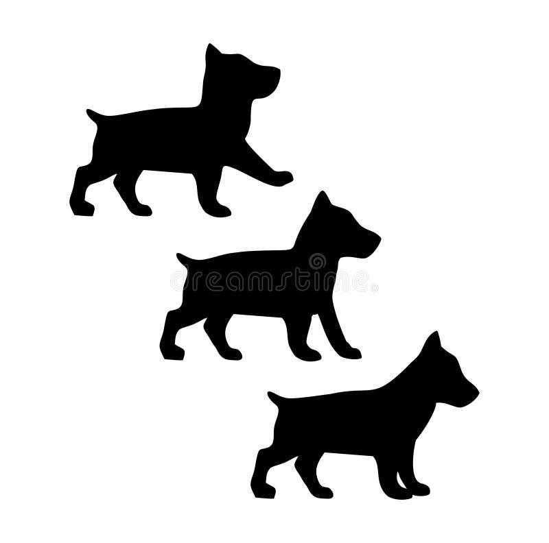 Το basenji κουταβιών διαφορετικό θέτει Περπατώντας και μόνιμο σκιαγραφιών εικονίδιο σκυλιών διανυσματική απεικόνιση