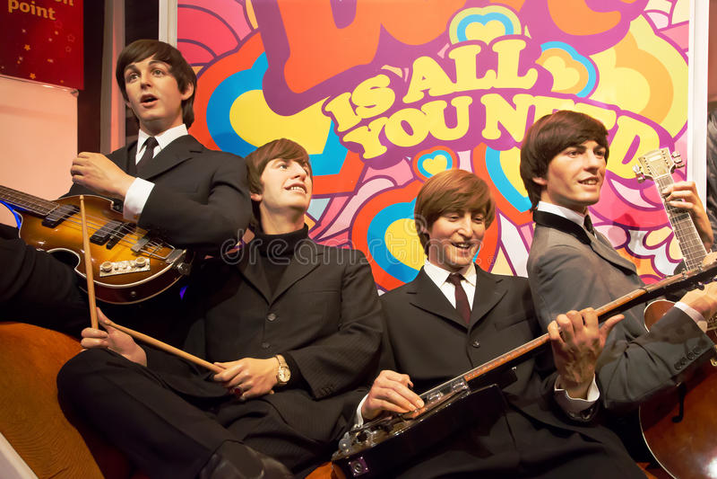 Το Beatles στην κυρία Tussauds του Λονδίνου στοκ εικόνες