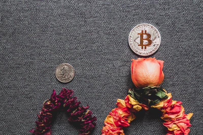 Το Bitcoin αυξάνεται γρηγορότερα από το δολάριο, έννοια στοκ εικόνες