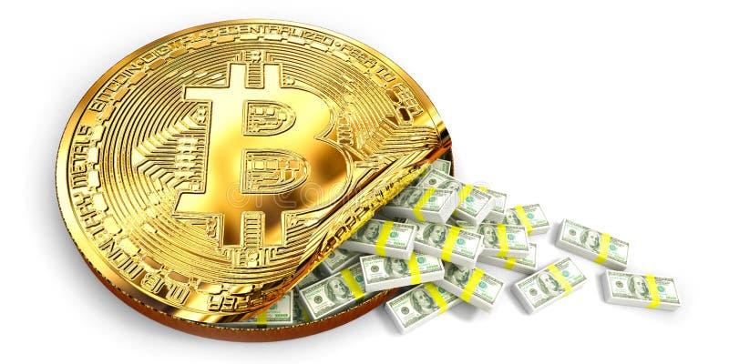 Το Bitcoin αύξησε την αξία από παρουσιάζει πολύ χύσιμο τραπεζογραμματίων αμερικανικών δολαρίων από ένα γιγαντιαίο νόμισμα κομματι ελεύθερη απεικόνιση δικαιώματος