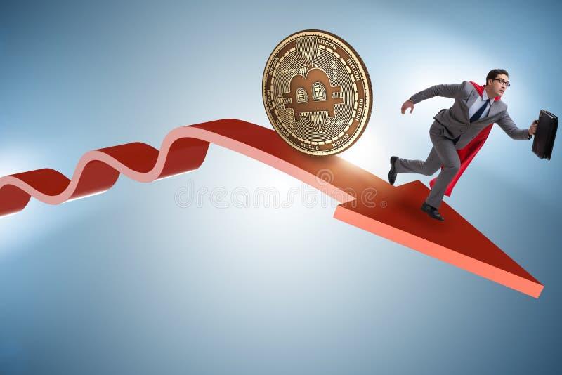 Το bitcoin που χαράζει τον επιχειρηματία στη συντριβή τιμών cryptocurrency στοκ εικόνες με δικαίωμα ελεύθερης χρήσης