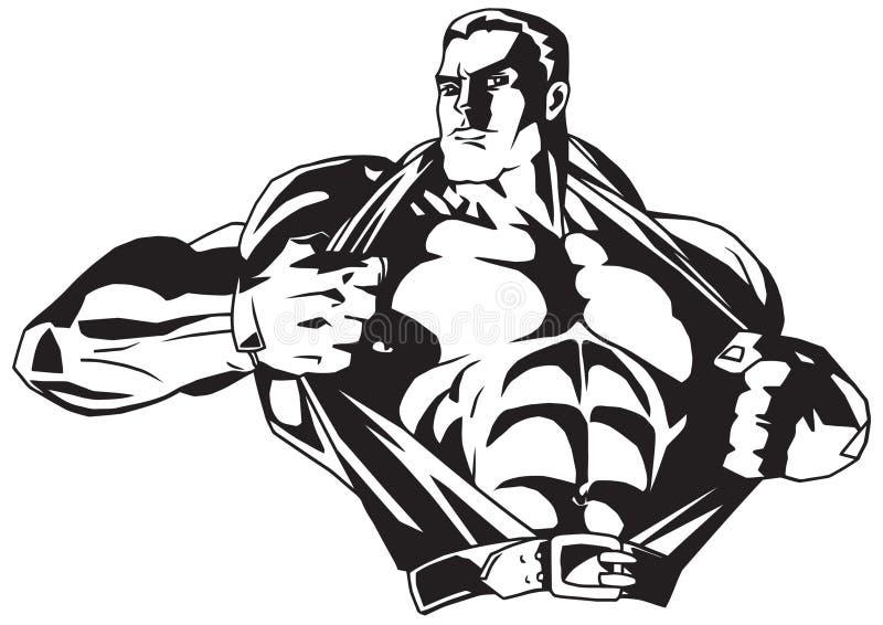 Το Bodybuilder σχίζει το πουκάμισο στο στήθος διανυσματική απεικόνιση