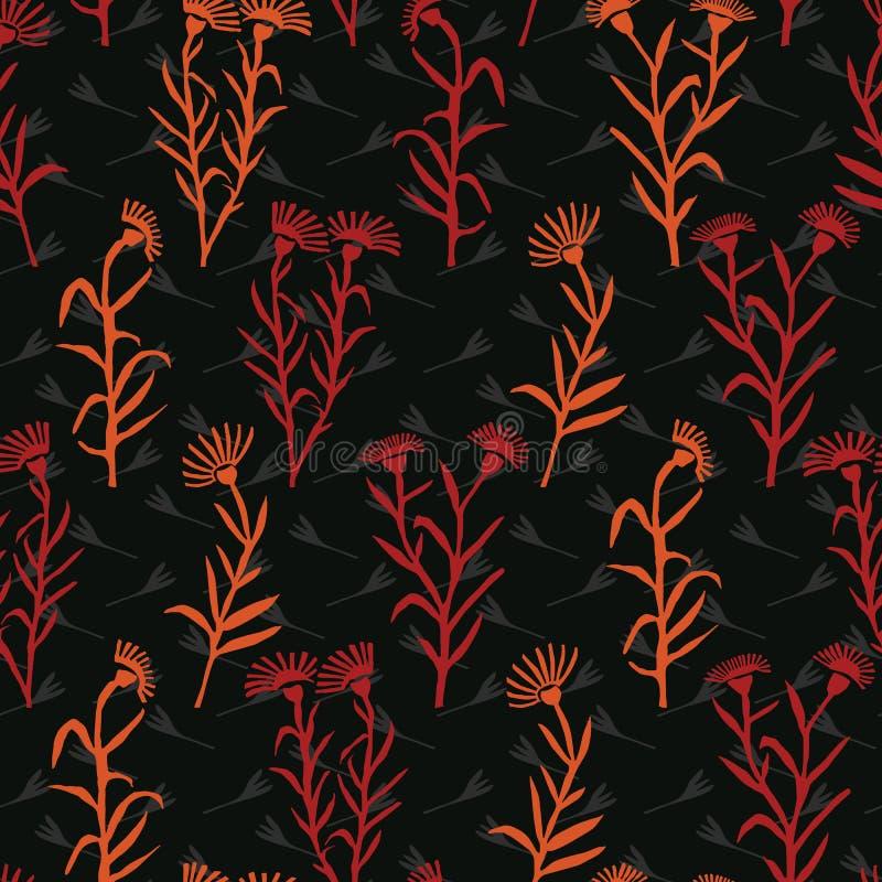 Το Boho Wildflower ανθίζει παντού διανυσματικός ζωηρόχρωμος Floral μίσχος τυπωμένων υλών απεικόνιση αποθεμάτων