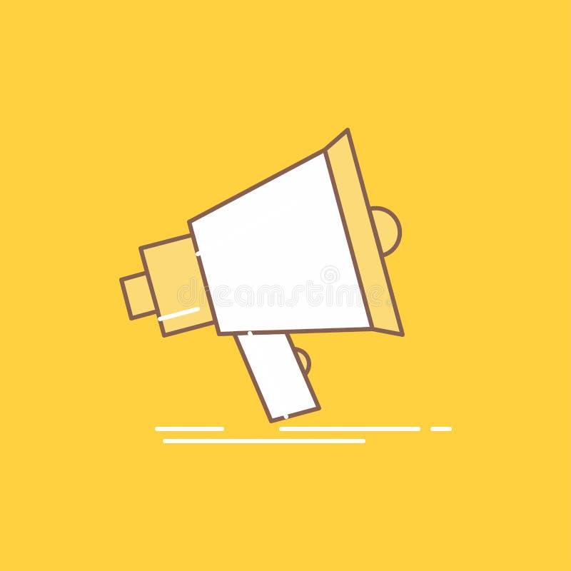 Το Bullhorn, ψηφιακός, μάρκετινγκ, μέσα, megaphone επίπεδη γραμμή γέμισε το εικονίδιο Όμορφο κουμπί λογότυπων πέρα από το κίτρινο ελεύθερη απεικόνιση δικαιώματος