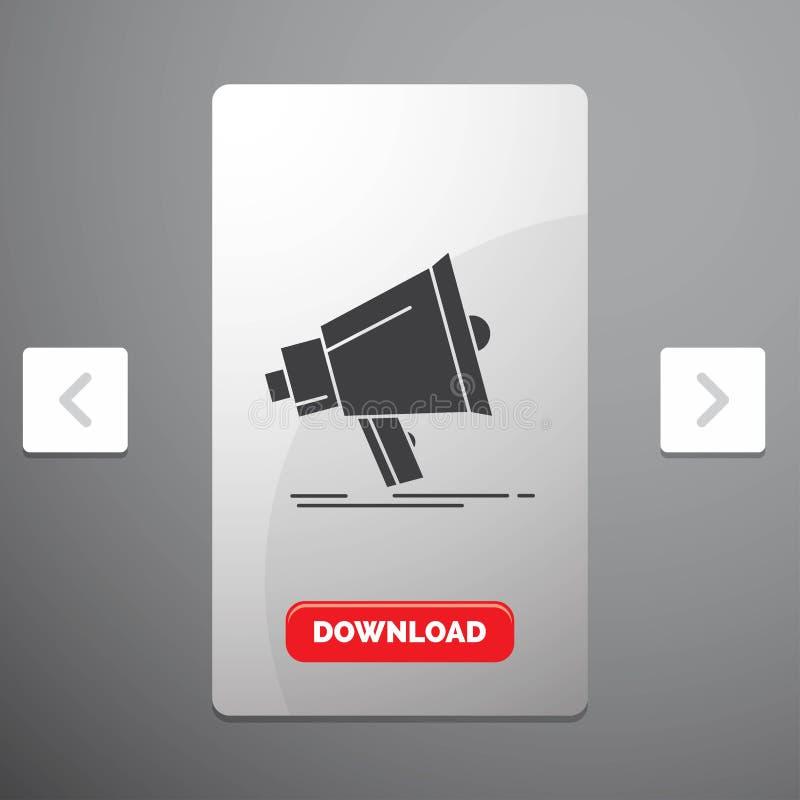 Το Bullhorn, ψηφιακός, το μάρκετινγκ, τα μέσα, megaphone το εικονίδιο Glyph στο σχέδιο ολισθαινόντων ρυθμιστών σελιδοποιήσεων φαγ διανυσματική απεικόνιση